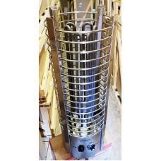 """Электрокаменка ЭКМ 9 кВт """"Tower - Башня""""  со встроенным терморегулятором и таймером  (нержавеющая сталь)"""